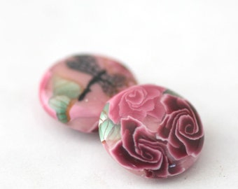 Polymer Clay Beads, Lentil Beads, Sweet Pink Flowers Pair 2 Pieces