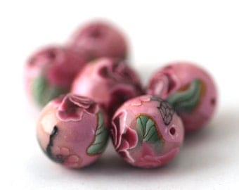 Polymer Clay Beads, Round Pink Beads, Sweetheart Pink Flowers 6 Pieces