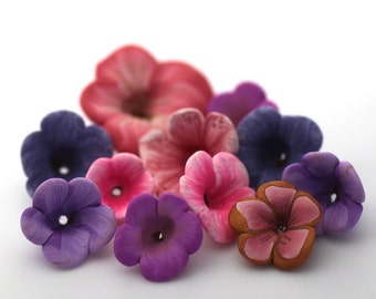 Spring Flowers, Polymer Clay Flowers, Clay Bead Mix, Purple and Pink, 10 pieces