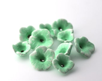 Green Flowers, Mint Green, Polymer Clay Beads, Clay Flower Beads 10 Pieces