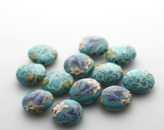 Turquoise Beads, Polymer Clay Beads, Lentil Beads, Sea Gardens Dozen, 12 Pieces - Made to Order