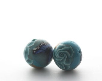 Turquoise Beads, Polymer Clay Beads, Round Beads, Bead Pair, Sea Garden