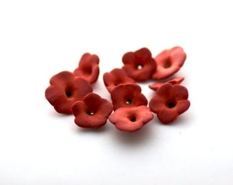 Red Mallow, Flower Beads, Polymer Clay Beads, Red Flowers, Red Beads, 10 pieces