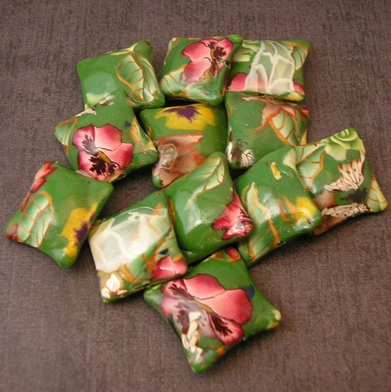 Forest Flowers Green Polymer Clay Pillow Bead Dozen - Made to Order