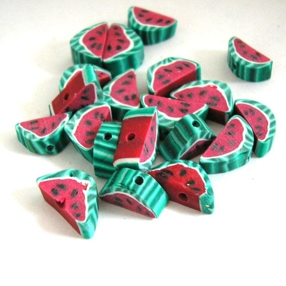 Watermelon Beads Fruit Polymer Clay Slice Beads 483