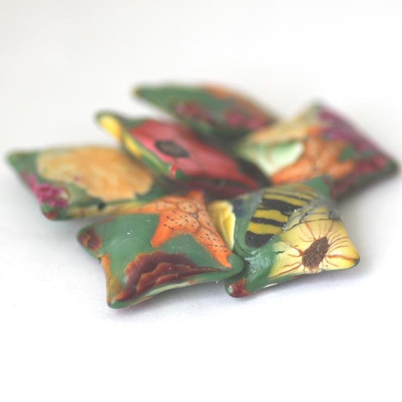 Polymer Clay Beads, Pillow Beads Forest Flowers Set 523