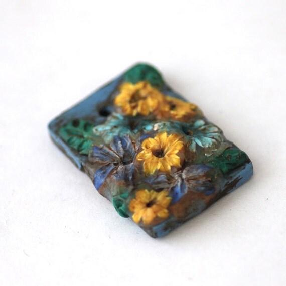 Polymer Clay Bead, Blue Focal Bead, Textured Flower Bead 608