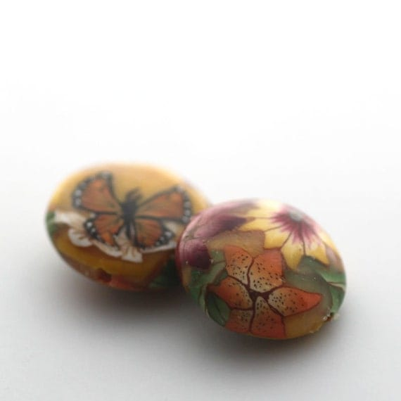 Polymer Clay Beads, Lentil Beads, Sunshine Yellow Flowers Pair