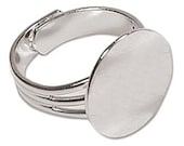 Ring with Blank Pad to Glue - 108 Pieces .999 Silver Plated -  Adjustable - Delayed Shipping