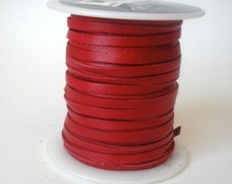 Red Deerskin Leather Lacing - 50 Foot Spool - Bulk