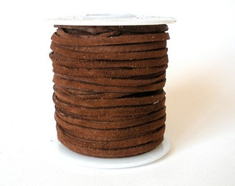 Suede Leather Lace Cord - Cafe Brown - 50 Feet - Made in the USA
