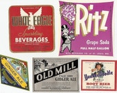 30 old 1930s plus SODA,BEVERAGE LABELS Squirt,Crush,Yankee Doodle Etc..