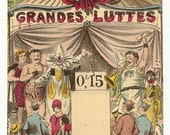 1900s French Game CIRCUS SIDESHOW FREAKS Etc..... Awesome early 1900s French game board print