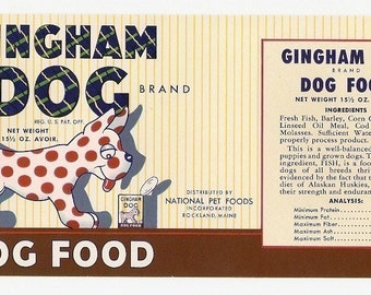 4 1940s plus Different  CAT And DOG FOOD Labels Gingham Dog,Rivet,Fuzzy Wuzzy