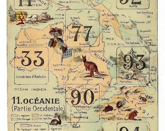 1900s French Game PRINT MAP OCEANIA Awesome early 1900s French game board print