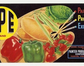 5 Old VEGETABLE CRATE LABELS Guadalupe,Calif.,Salinas,El Centro,Etc..