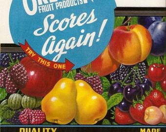 Old Vintage Large COLORFUL Oregon Fruit ADVERTISING LABEL