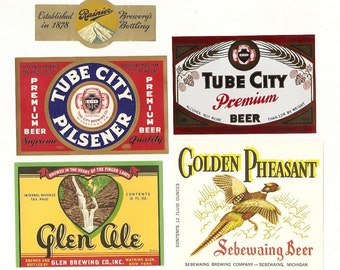 22 Different Old 1930's Plus OLD BEER LABELS