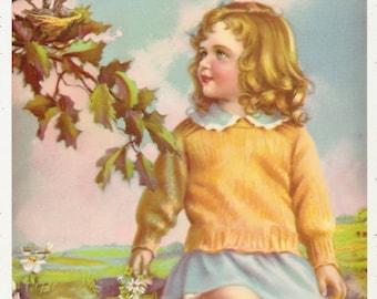 "1940's vintage calendar print ""FRIENDLY NEIGHBORS"""