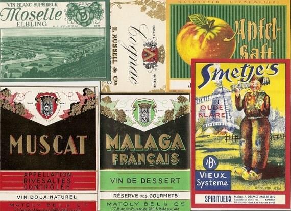 41 different Old 1930's plus  European WINE & LIQUOR LABELS