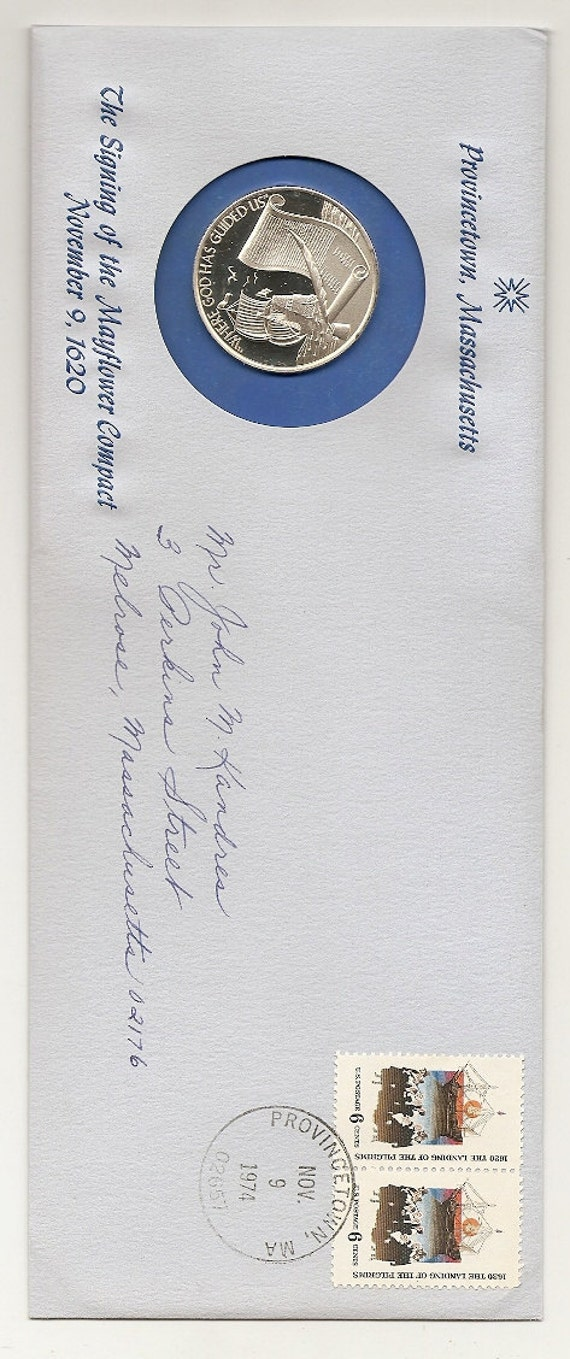 Old Vintage STERLING SILVER MEDALLIC Postal Cover provincetown , massachusetts mayflower compact