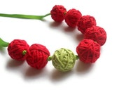 Cotton Necklace -Red and Lime (Free UK Shipping)