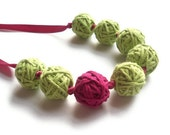 Cotton Necklace - Lime and Fuchsia  (Free UK Shipping)