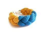 Cotton Braid Bracelet - Yellow and Turquoise (Free UK Shipping)