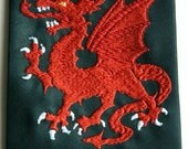 Necktie embroidered with Welsh Dragon