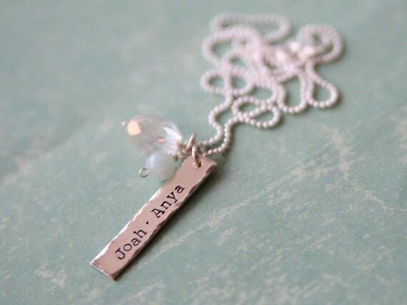 custom sterling bar necklace