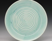 High fired porcelain platter plate beautiful blue with crystals R Mello BP11