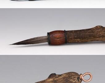 Handmade artist brush, ceramics, water color, calligraphy, moose hair b43