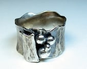 Sterling silver wide band ring hammered metalsmith - Silver Pebbles