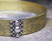 Etched Brass Bangle Lace Tapestry - Golden Tapestry Bangle