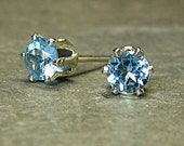 Swiss blue topaz Sterling Silver studs post earrings -  Tiny Treasures