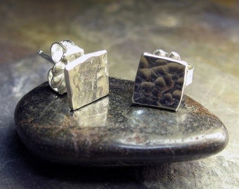 Sterling Silver Stud Earrings Geometric - Sparkle on the Square