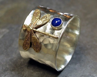 Sterling Silver Dragonfly Ring with choice of Stone - Dragonfly Treasure