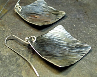 Hammered Sterling Silver Earrings Geometric Diamond - Silver Rain Dangles