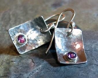 Sterling Silver Earrings with Pink Garnet - Raspberry Ice Earrings