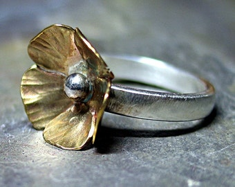 Sterling Silver and Brass Flower ring nature jewelry - Buttercup