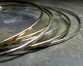 Skinny Sterling Silver and Gold-Filled Stacking Bangles - Three of Each
