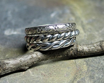 Stacking rings sterling silver pattern wire set of three - Three's Company
