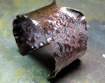 Wide Hammered Copper Cuff - City Rustic