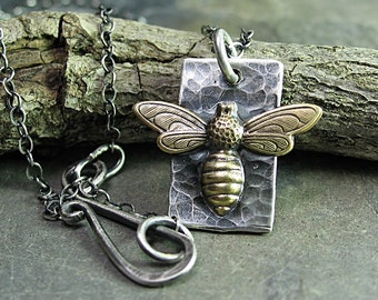 Bee Pendant Sterling Silver and Brass - Bee My Honey