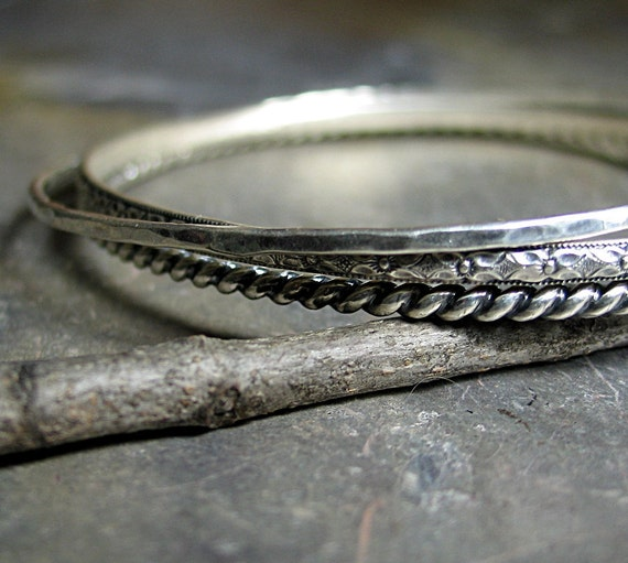 Stacking Bangles Sterling Silver Patterned Wire - Three's Company