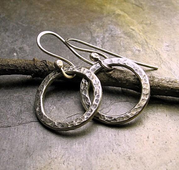 Sterling silver petite dangle hoops - Pebble Road