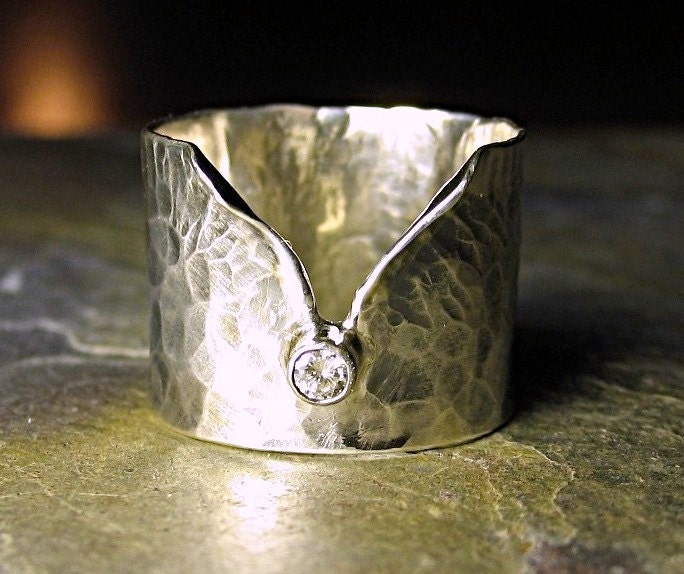 ring artisan ring sterling silver wide band engagement