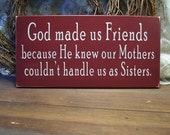 God Made Us Friends Wood Sign Wall Decor Funny Plaque home decor Wall Art