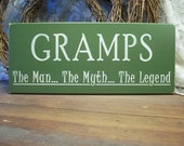 Gramps Wood Sign The Man The Myth The Legend Painted Primitive Grandfather Gift Father's Day