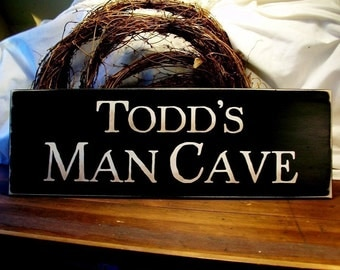 Personalized MAN CAVE Wood Sign for your Favorite Guy Father's Day Wall Decor